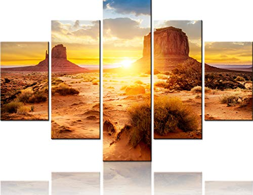 (Native American Decor 5 PCS Canvas the Monument Valley Tribal Park At Sunrise, Arizona Pictures U.S Paintings Modern Artwork Home Decor for Living Room Framed Stretched Ready to Hang(60''Wx40''H))