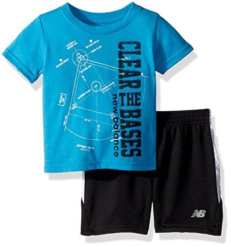 (New Balance Boys' Toddler Athletic Tee and Short Set, Maldives/Black, 4T)