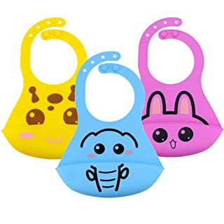 Waterproof Silicone Bib for Babies & Toddlers Unisex, Comfortable Soft Baby Bibs Keep Stains Off! Easy Cleaning after Meals with Babies or Toddlers Set of 3 Colors (Pink/Blue/Yellow)