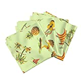 Roostery Surf Tiki Aloha Hawaii Ukulele Pineapple Beach Linen Cotton Dinner Napkins Hawaiiana 1C by Muhlenkott Set of 4 Dinner Napkins