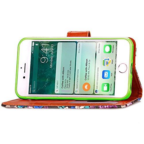 Voguecase® Pour Apple iPhone 7 Plus Coque, Étui en cuir synthétique chic avec fonction support pratique pour Apple iPhone 7 Plus (Polka Dot Colorful-Vert)de Gratuit stylet l'écran aléatoire universell