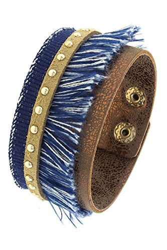 TRENDY FASHION JEWELRY DENIM TASSEL STRIPE BRACELET BY FASHION DESTINATION | (Monet Costume Jewelry Bracelet)