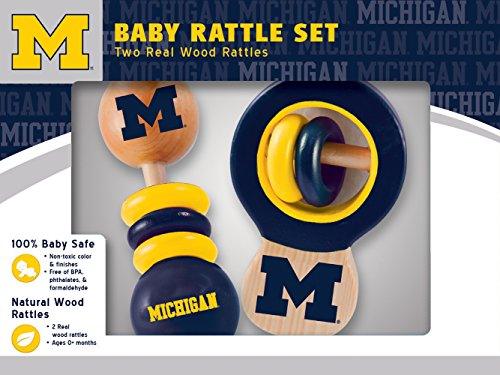 MasterPieces NCAA Michigan Wolverines Baby Rattle, 2-Pack