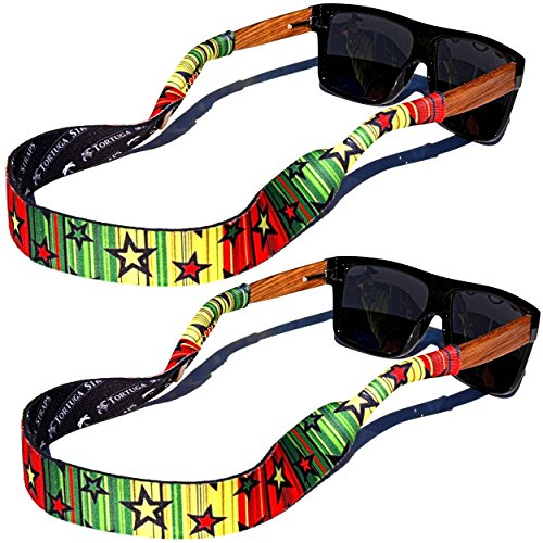TORTUGA STRAPS FLOATZ RF Kingston Glasses Strap - 2 Pk | Floating Adjustable Sunglass Straps | Soft & Comfortable Dual Sided Fabric | 3MM Neoprene Base for Added Durability | - Glasses Kingston