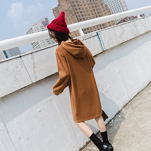 Is Cap Long Thin Jacket Straight yellow Camel Long Sleeved Head And Female Xuanku Lazy The Sets Sweater qgAXXY