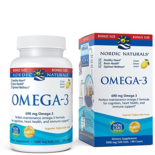 Nordic Naturals Omega-3 Soft Gels - Omega-3 Essential Fatty Acids Aid in Cognition, Heart Health, and Immune Support, Lemon Flavor, 90 Count Bonus Size - Nutrients Eye Formula 90 Tabs