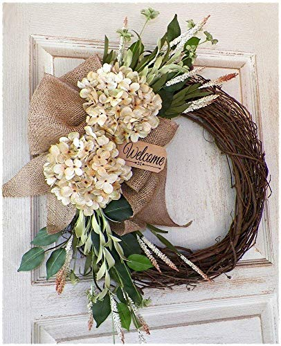 - Farmhouse Country Burlap Welcome Wreath for Front Door