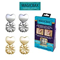 Magic Bax Earring Lifters - 2 Pairs of Adjustable Hypoallergenic Earring Lifts (1 Pair of Sterling Silver Plated and 1 Pair of 18K Gold Plated) As Seen on TV
