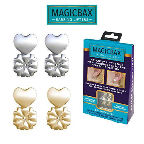 Magic Bax Earring Lifters - 2 Pairs of Adjustable Hypoallergenic Earring Lifts (1 Pair of Sterling Silver Plated and 1 Pair of 18K Gold Plated) As Seen on TV Comfort Fit Platinum Earrings