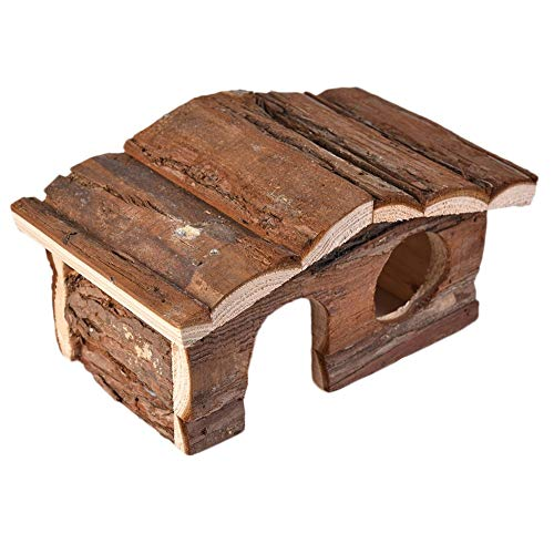 Hamster Wooden House Small Animals Hideout Home for Rat Mice Gerbil Cage Play Hut (S)