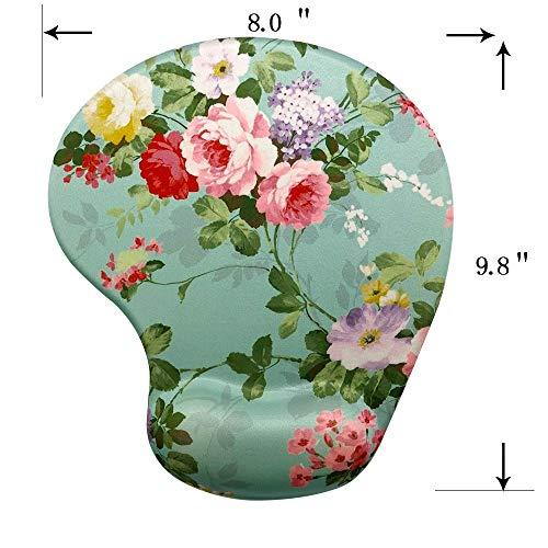 Memory Foam Mousepad with Wrist Support, Floral Gorgeous Flower Unique Design Ergonomic Mouse Pad Wrist Rest, Super Non-Slip PU Base by Apottwal (Image #1)
