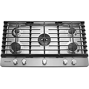 KitchenAid KCGS556ESS 36 Stainless 5 Burner Gas Cooktop
