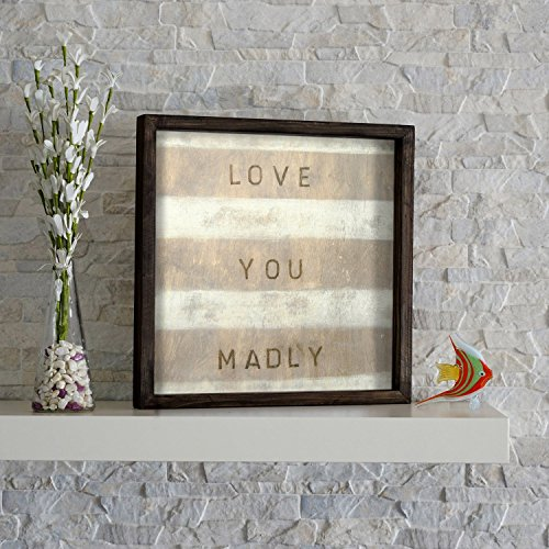 LaModaHome Home Decor 100% Pine Wood Framed Wall Art  Love Y