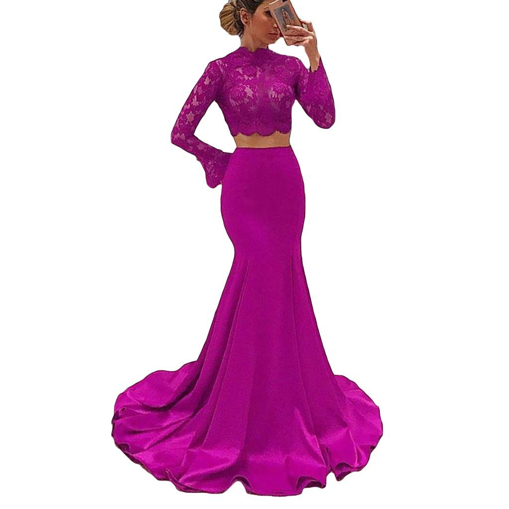Fuchsia Liyuke Mermaid Prom Dresses Long Flare Sleeve 2 Piece Sweep Train Lace Evening Gowns