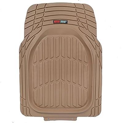 Motor Trend Flextough Tortoise - Heavy Duty Rubber Floor Mats for Car SUV Van & Truck - All Weather Protection - Deep Dish (Tan Beige): Automotive