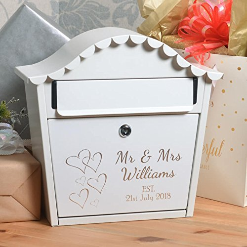 signs numbers personalised wedding letterbox with name date and hearts
