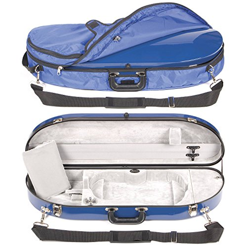 Bobelock 1047FV Blue Fiberglass 4/4 Violin Case with Silver Velvet Interior and Protective Bag
