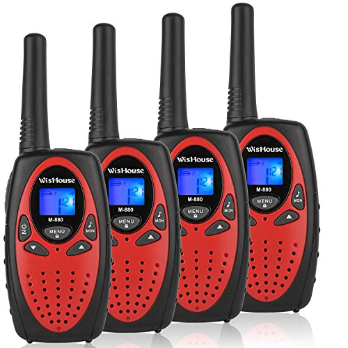 WisHouse 4 Pack Two-Way-Radios Red - UHF CB Walkie Talkies for Adults Long Range - CTCSS DCS Walki Talki Largo Alcance - Ham PTT Walky Talkie with Microphone 22 Channels for Traveling Hunting Cruise