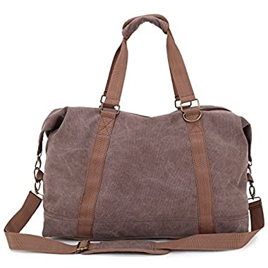 Toupons Portable Men Women Casual Canvas Weekend Travel Duffel Bag (Coffee-2)