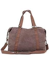 Toupons Portable Men Women Casual Canvas Weekend Travel Duffel Bag (Coffee-2)