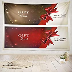 Soopat Tapestry Polyester Fabric Holiday Banners Red Space Banner Christmas Ribbon Gift Wall Hanging Tapestry Decorations Bedroom Living Room Dorm 80X60 inch
