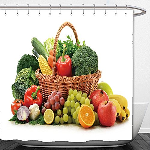 Beshowere Shower Curtain composition with vegetables and fruits in wicker basket isolated on white