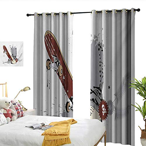 WinfreyDecor Teen Room Thermal Insulated Drapes for Kitchen/Bedroom Skateboard with Boy Feet in The Sneakers and Jeans Illustration Suitable for Bedroom Living Room Study, etc.W72 x L96 ()
