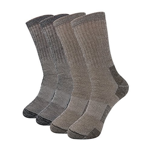 Pgaoterdoor 2 Pairs Men\'s Thick Wool Socks Thermal Camping Hiking Walking Warm Crew Socks