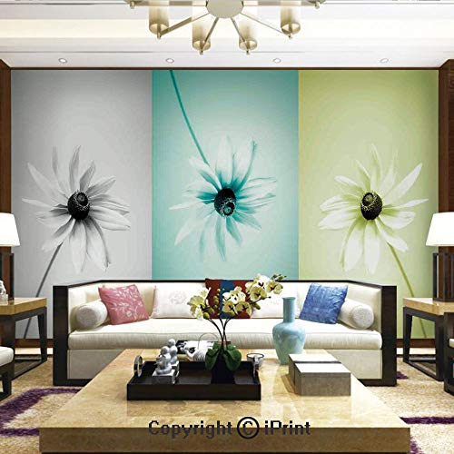 Lionpapa_mural Removable Wall Mural Ideal to Decorate Your Living Room,Daisy Flowers in Different Featured Framed Saturated Artsy Image,Home Decor - 100x144 inches