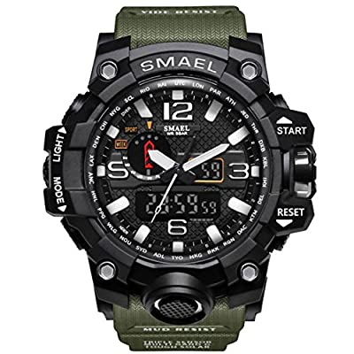 KXAITO Men's Sports Outdoor Waterproof Military Watch Date Multi Function Tactics LED Alarm Stopwatch