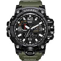 Kxaito - Reloj deportivo de pulsera para hombre, resistente al agua, estilo militar, multifunción, con alarma Led militar