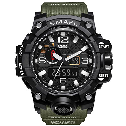 - KXAITO Men's Watches Sports Outdoor Waterproof Military Watch Date Multi Function Tactics LED Alarm Stopwatch (Green)