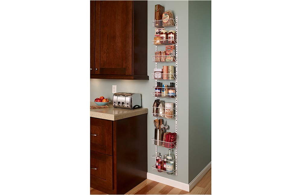 Closetmaid adjustable 8-tier wall and door rack 3 store and organize items of various sizes. Easily reposition baskets to accommodate tall and short items. Close wire spacing on baskets keeps items from tilting. Wall and over-the-door solution is perfect for kitchen and pantry organization.