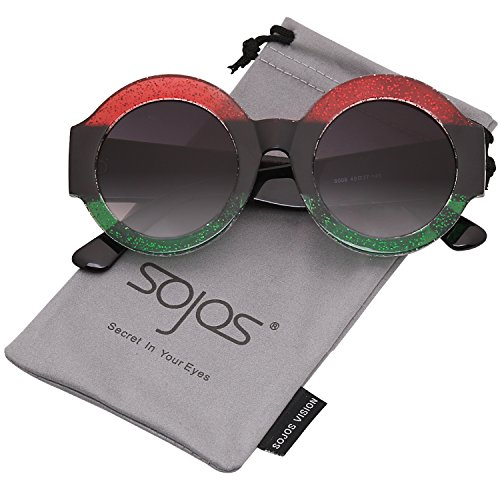 SojoS Oversized Clout Goggles Shades Round Thick Frame Women Sunglasses SJ2047 with Red&Black&Green Frame/Gradient Grey - Black And Green Sunglasses