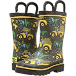 Boys Waterproof Printed Rain Boot with Easy Pull On Handles, Tractor Tough, 4 M US Little Kid