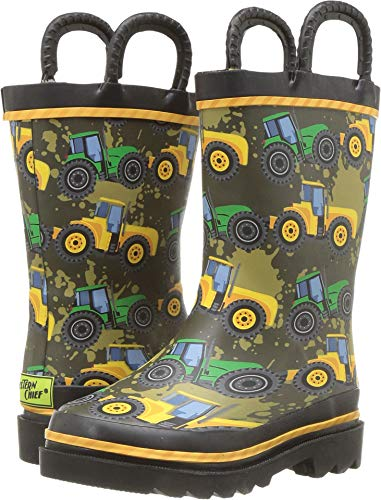 Western Chief Kids Waterproof Printed Rain Boot with Easy Pull On Handles, Tractor Tough 10 M US Toddler