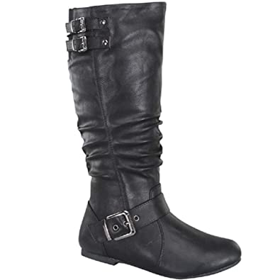 7c9df493d0ab TOP Moda Night-76 Women s Slouched Under Knee High Flat Boots