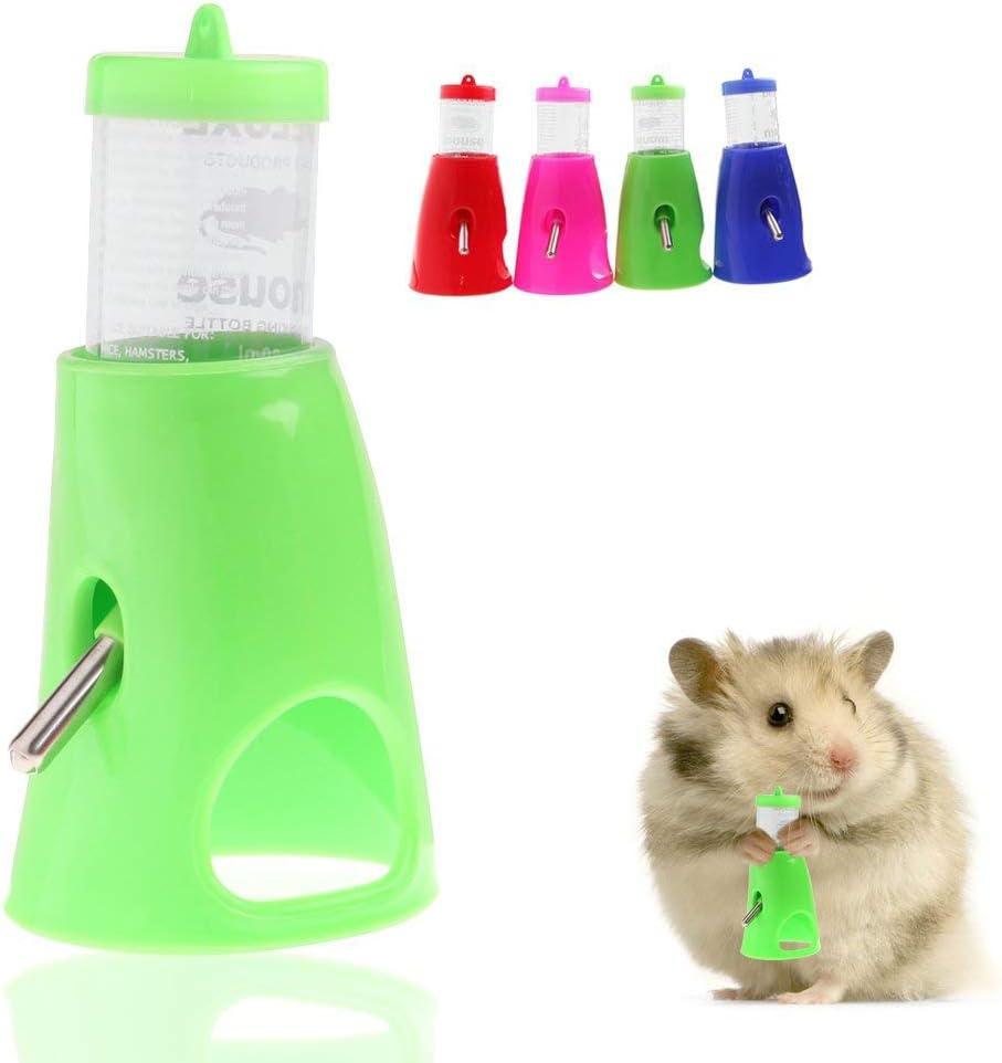 OUYAWEI 80ML 2 in 1 Hamster Water Bottle Holder Dispenser With Base Hut Small Pet Nest Pink