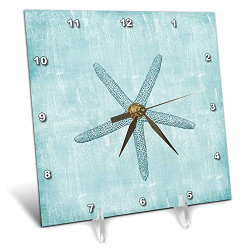 3dRose dc_178911_1 Aqua Starfish Abstract Beach Theme Desk Clock, 6 by 6