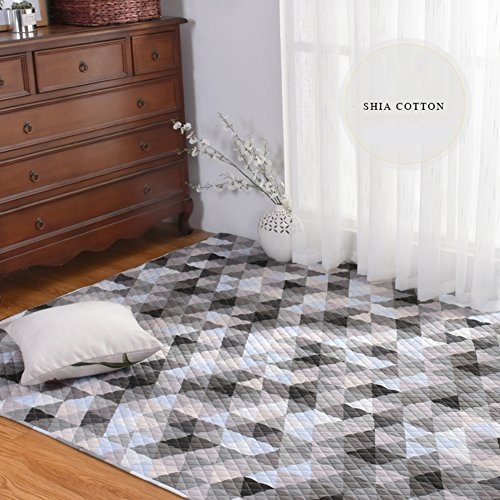 Decorative Rugs Modern Carpet Rectangle Cotton mats for Bedroom Living Room Simple Bedside Nordic American Baby Crawling Mattress Coffee Table Tatami Home Non-Slip Washable-E 110x210cm(43x83inch)