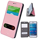 Samsung Galaxy Grand Prime Case - Asmart Hui Pu Leather Cover Soft TPU Back Case, Quick View Window, Stand Function, Retail Package (Pink)