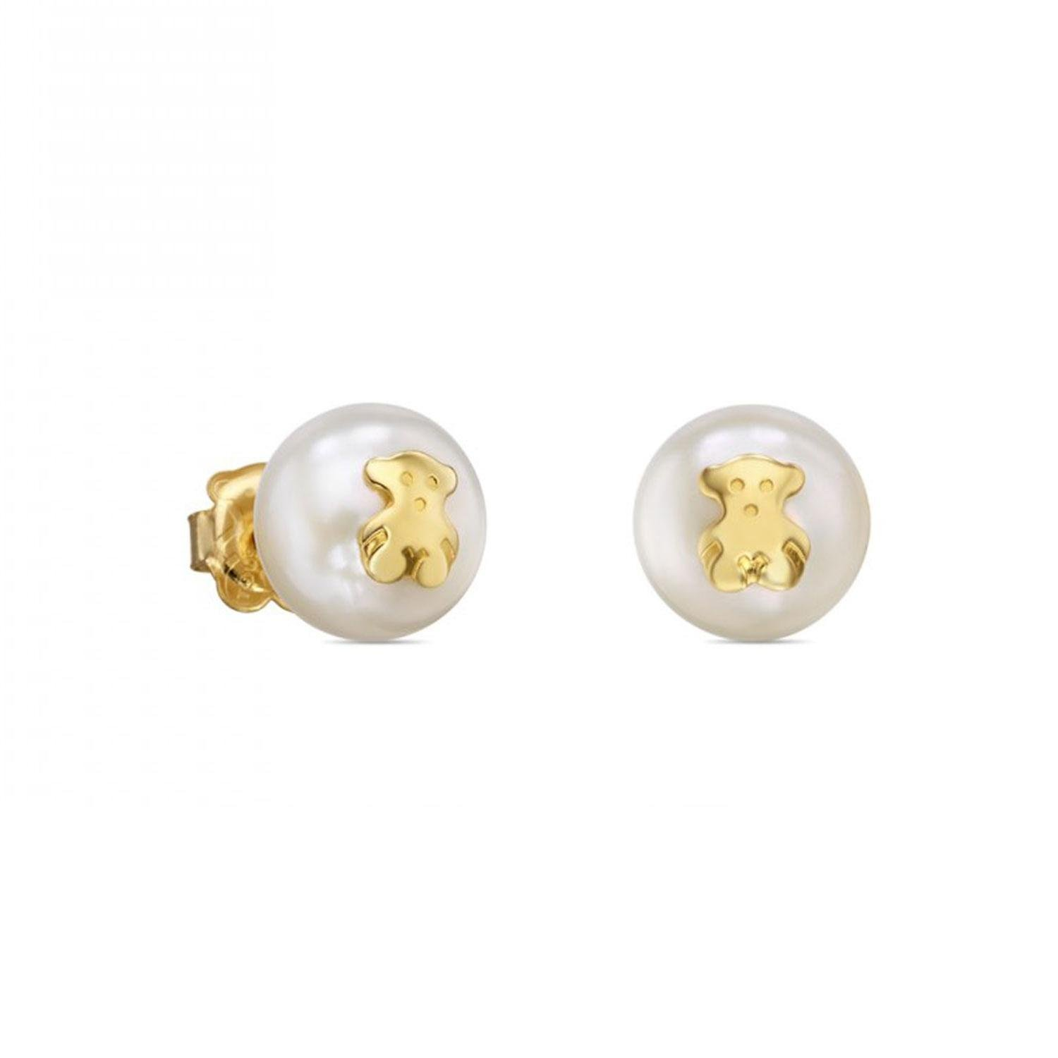 500852a99 Amazon.com: TOUS Sweet Dolls Freshwater Cultured Pearl and Gold Bear Stud  Earrings: Jewelry