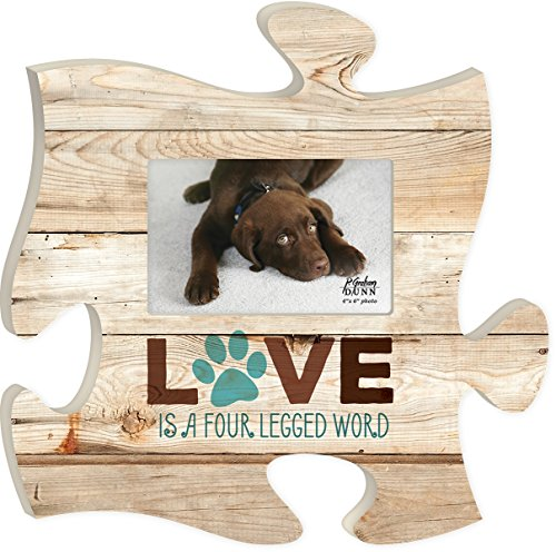 P. GRAHAM DUNN Love is a Four Legged Word 12 x 12 Wood Wall Art Puzzle Piece 4x6 Frame Plaque ()