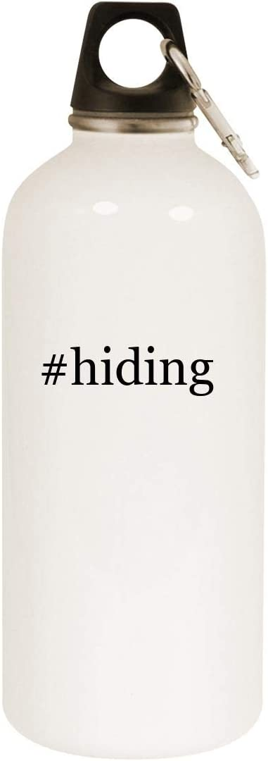 #hiding - 20oz Hashtag Stainless Steel White Water Bottle with Carabiner, White