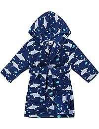 d51a3edcd0 Boys Girls  Plush Super Soft Fleece Printed Hooded Bathrobes Robe