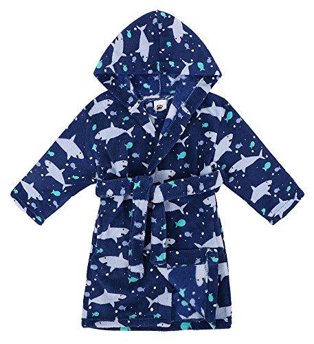 Shark Robe - Verabella Boys Girls' Fleece Printed Hooded Beach Cover up Pool wrap,Ocean,M