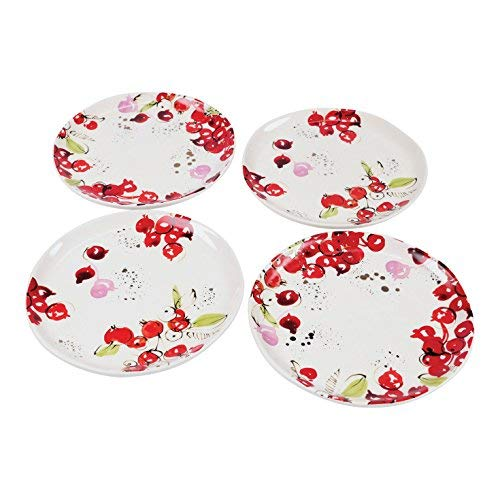 FLOOR | 9 Christmas / Holiday Berries Ceramic Appetizer Plates with Real Gold Accents, Set of 4
