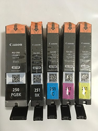 Price comparison product image Canon OEM Genuine PGI-250 & CLI-251 Colors (CMY) and PGI/CLI Black Ink Cartridges - 5 Pack - Bulk Package