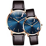 OLEVS Men Women 2Pcs ''1314'' Lifetime Love Ultra Thin 6.5mm Quartz Leather Strap Couple Wrist Watches, Black/ Blue Dial