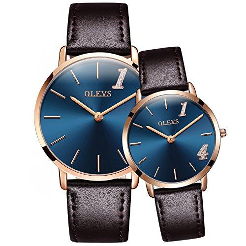OLEVS Men Women 2Pcs ''1314'' Lifetime Love Ultra Thin 6.5mm Quartz Leather Strap Couple Wrist Watches, Black/ Blue Dial by OLEVS